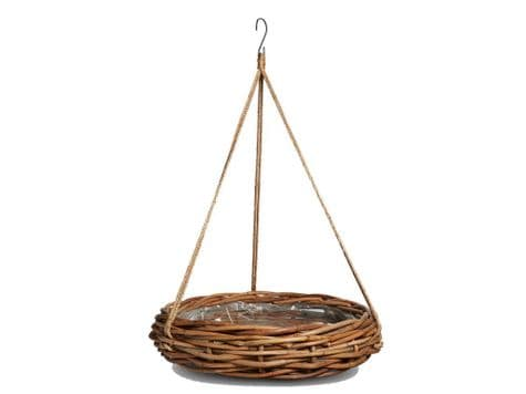lined planter basket on rope   round wicker hanging basket